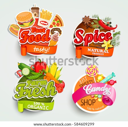 Food and drink elements typographical design label or sticker fast food spice