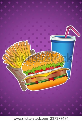 Food and Drink. Fast food. Hamburger, french fries, drink. Design vector illustration. - stock vector