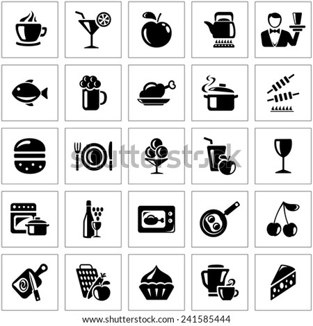Food and drink icon set - stock vector