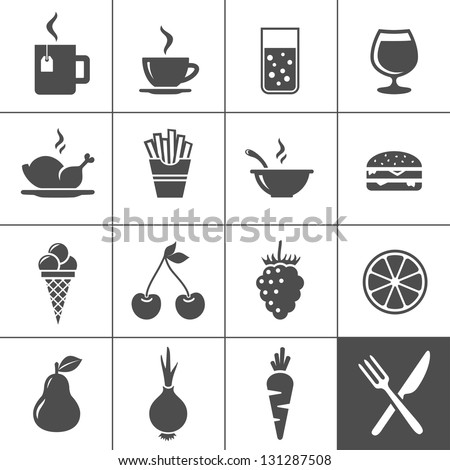 Food and drink icon set. Drinks, fastfood, fruits, vegetables. Simplus series. Vector illustration - stock vector