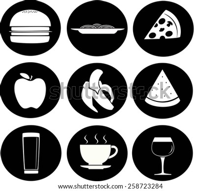 food and drink icons in black and white - stock vector
