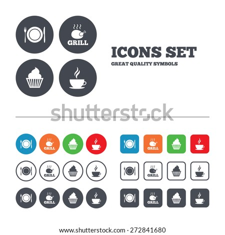 Food and drink icons. Muffin cupcake symbol. Plate dish with fork and knife sign. Hot coffee cup. Web buttons set. Circles and squares templates. Vector - stock vector