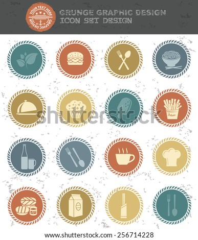 Food and drink icons,retro style,clean vector
