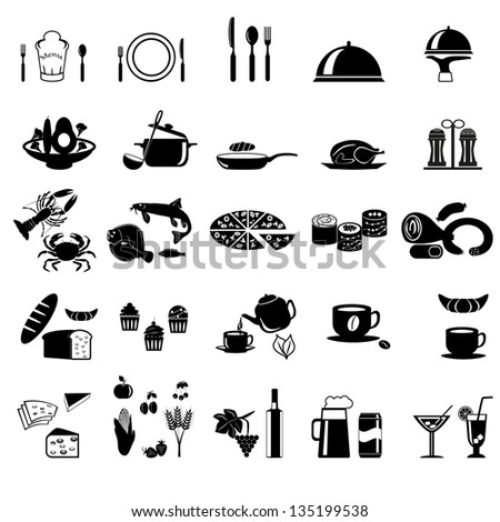 Food and Drink icons set Elegant series - stock vector
