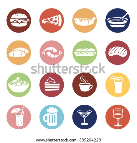 Food and drink icons set in color circles. Menu items illustrations. - stock vector