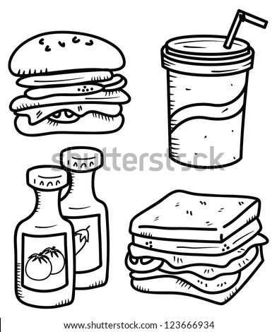 food and drink in doodle style - stock vector