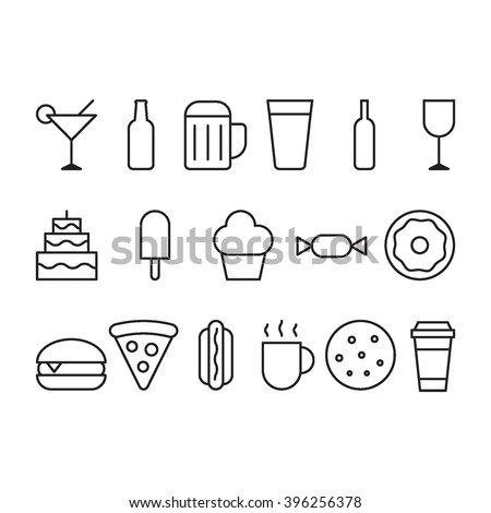 Food and drink outline icon set: cocktail, bottle beer, cup beer, wine, cake, pie, ice cream, donut, burger, pizza, hot dog, coffee cup, cookie. Vector flat icon on white background. Element for logo. - stock vector