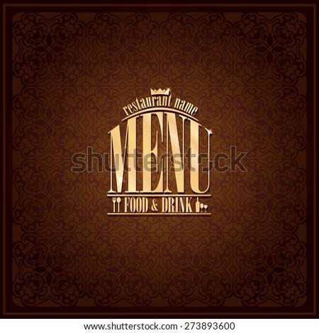 Food and drink Restaurant Menu design ,vintage card brown - stock vector