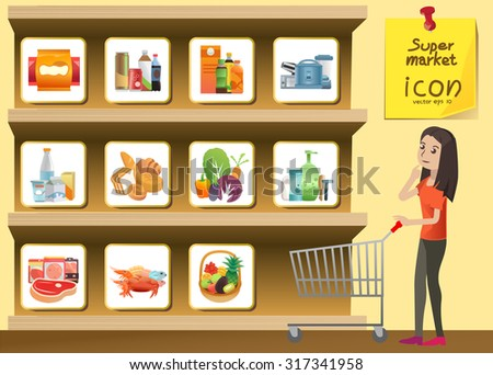 food and drink supermarket icon style on shelves. snack,beverage,Juice,food, you can use icon for media Releases, guide,Signs advice or small illustrations.vector Illustration , Graphic Design - stock vector