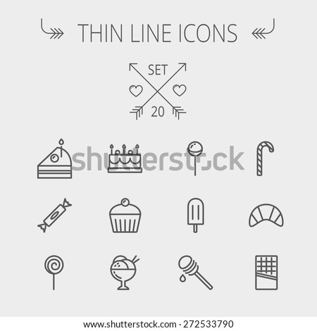 Food and drink thin line icon set for web and mobile. Set includes- cake, candy, lollipop, cupcake, ice cream, honey dipper, popsicle, waffle icons. Modern minimalistic flat design. Vector dark grey - stock vector
