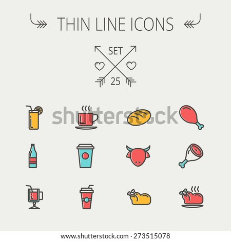 Food and drink thin line icon set for web and mobile. Set includes -coffee, soda, lime, juice, bread, poprk meat, chicken, cow, fried chicken icons. Modern minimalistic flat design. Vector icon with - stock vector