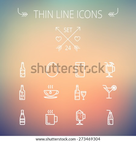 Food and drink thin line icon set for web and mobile. Set includes- soda, wine, whisky, coffee, hot choco, beer, ice tea, egg icons. Modern minimalistic flat design. Vector white icon on gradient mesh - stock vector