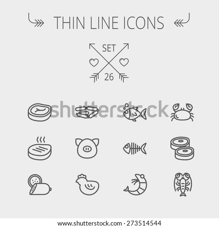Food and drink thin line icon set for web and mobile. Set includes- steak, sausages, fish, crab, shrimp, lobster icons. Modern minimalistic flat design. Vector dark grey icon on light grey background. - stock vector