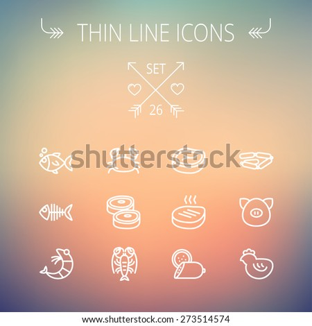 Food and drink thin line icon set for web and mobile. Set includes-steak, sausages, fish, crab, shrimp, lobster icons. Modern minimalistic flat design. Vector white icon on gradient mesh background. - stock vector