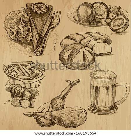 Food and Drinks around the World (part 4). Collection of hand drawn illustrations (originals, no tracing). Description: Each drawing comprise of two layers of outlines, colored background is isolated. - stock vector