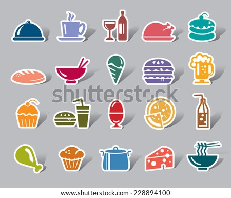 Food and Drinks Color Icon Label