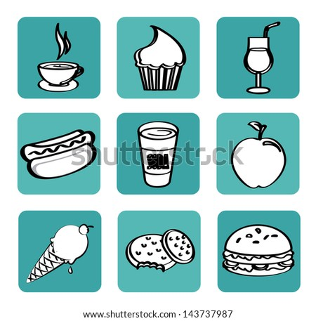 food and drinks design over white background vector illustration