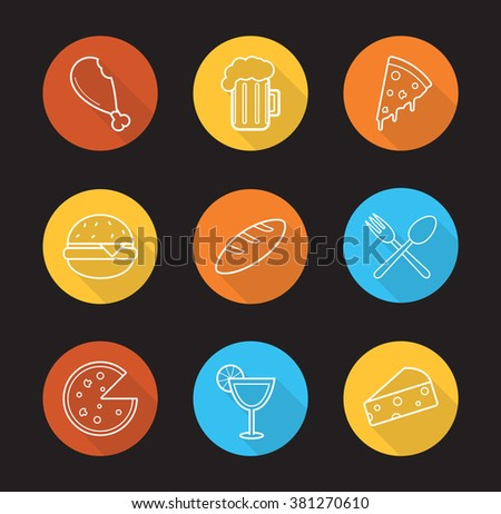 Food and drinks flat linear long shadow icons set. Restaurant menu items. Chicken leg, pizza slice and hamburger symbols. Beer and cocktail icons. Outline logo concepts. Vector illustrations - stock vector