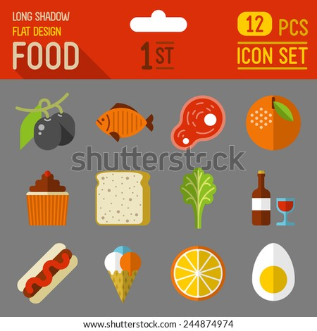 Food and drinks flat long shadow design icon 2nd set. 12 pcs. Trendy vector illustrations. - stock vector
