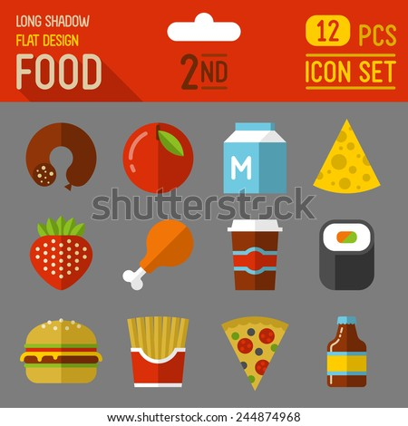 Food and drinks flat long shadow design icon 1st set. 12 pcs. Trendy vector illustrations. - stock vector