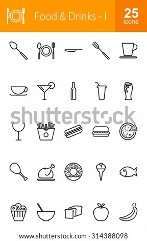 Food and Drinks icon set. Suitable for web apps, mobile apps and print media.