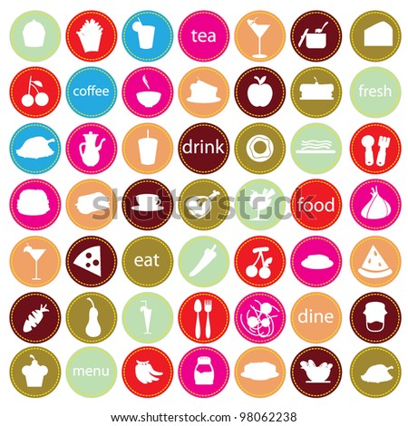 food and drinks icons for restaurant, bars and others - stock vector