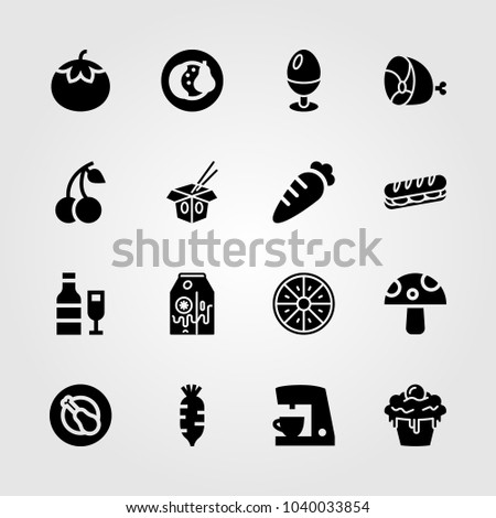 Food And Drinks icons set. Vector illustration coffee maker, chicken leg, fruits and banana milk
