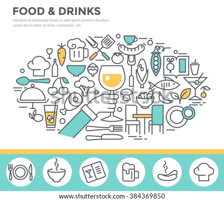 Food and drinks illustration, thin line flat design - stock vector