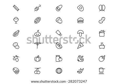 Food and Drinks Line Vector Icons 15
