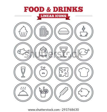 Food and Drinks linear icons set. Beer, coffee and cocktail symbols. Fish and pork meat, hamburger and cheese thin outline signs. Chief hat. Flat vector - stock vector