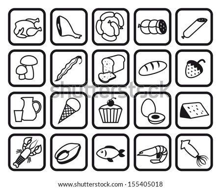 food and drinks. set of vector icons - stock vector