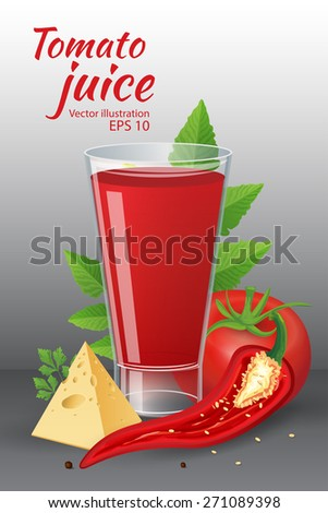 Food and drinks vector illustration. Glass of of tasty fresh tomato juice with  red ripe tomatoes, green tomato leafs, cheese, hot chili pepper and parsley isolated on grey background. Realistic style - stock vector