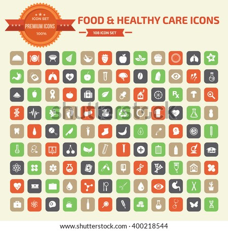 Food and heathy care icon set,clean vector - stock vector