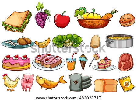 Food and ingredients set illustration