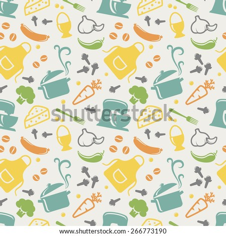 Food and kitchen seamless pattern in blue, yellow, orange, green, purple and grey pastel colors. Retro background with cute icons for culinary theme. Vector illustration. - stock vector