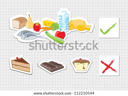 Food and Nutrition shown in infographic chart - stock vector