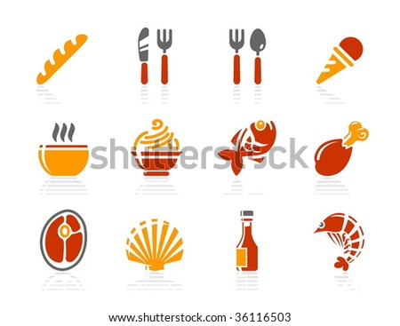 Food and Restaurant icons. Vector icon set. Three color icons. - stock vector