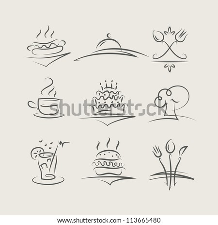 food and utensils set of icons vector illustration - stock vector