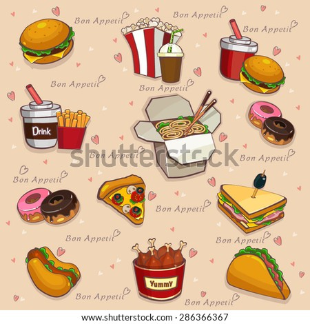 Food background - seamless pattern vector illustration