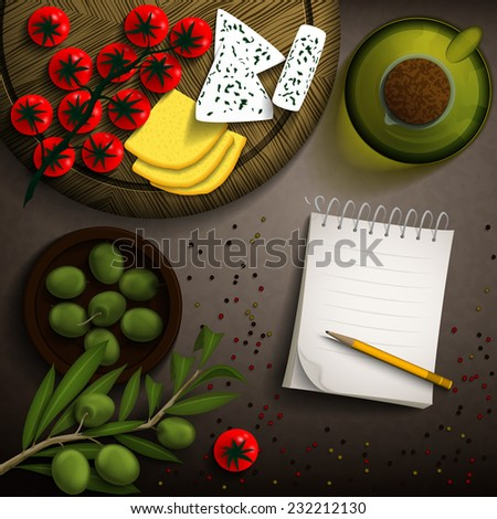 Food background with cherry tomato, olives, olive oil, two kinds of cheese on wooden plate and notebook for recipes. Vector illustration. - stock vector