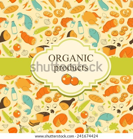 Food background with foodstuffs and blank space for your text - stock vector