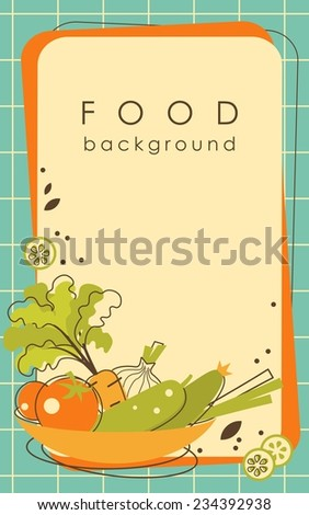 Food background with vegetables and blank space for your text - stock vector