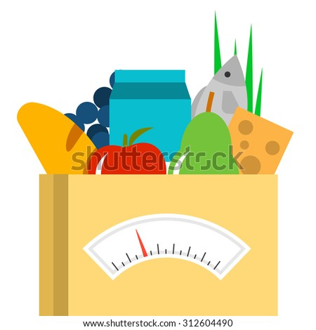 Food bag with groceries and weighing scale, vector illustration. Weight loss and diet concept. - stock vector