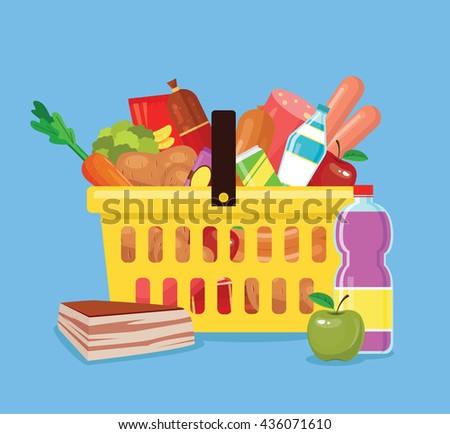 Food basket. Fresh food in basket from shop. Basket full of food. Vector flat cartoon icon illustration - stock vector