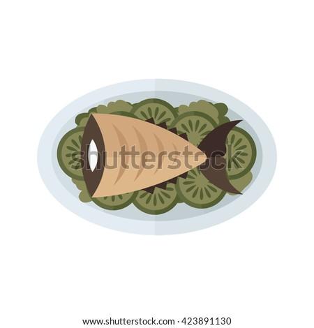 food, brown fish and salad - stock vector