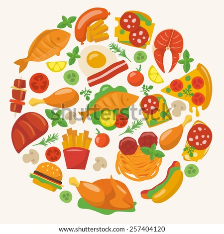 Food circle with different food icons.  - stock vector