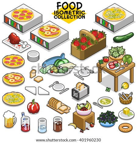 Food collection, including items like pizza with matching boxes, salad, strawberries, toast, bell-pepper, fruit, bagel, butter, cutlery, beverages and dishes. Isometric vector set.
