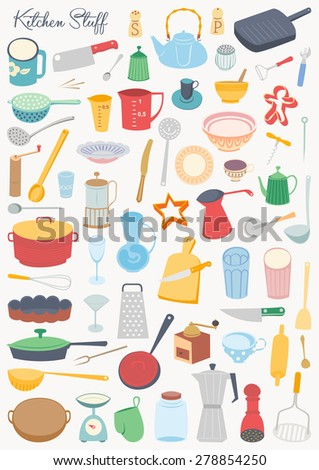 Food collection - Kitchen stuff - stock vector