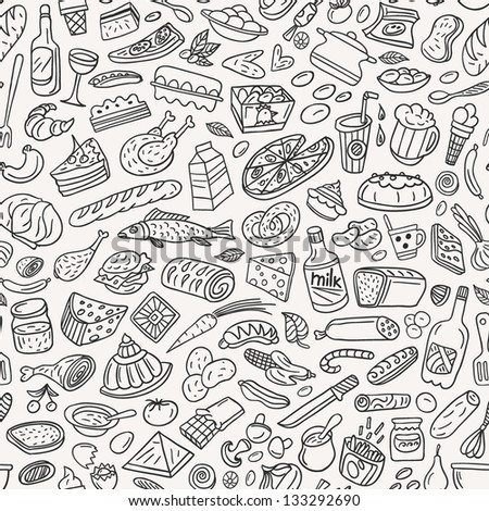 food ,cookery - seamless pattern - stock vector