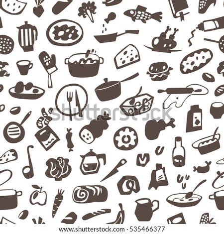food , cookery - seamless vector background